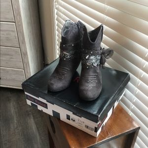 Not Rated faux suede grey booties